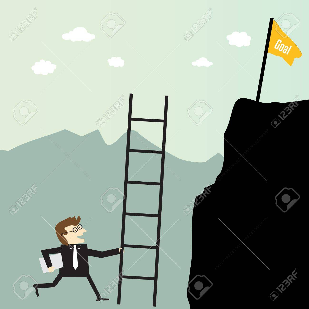 Businessman climbing with stairs for a high target Stock Vector - 20664903