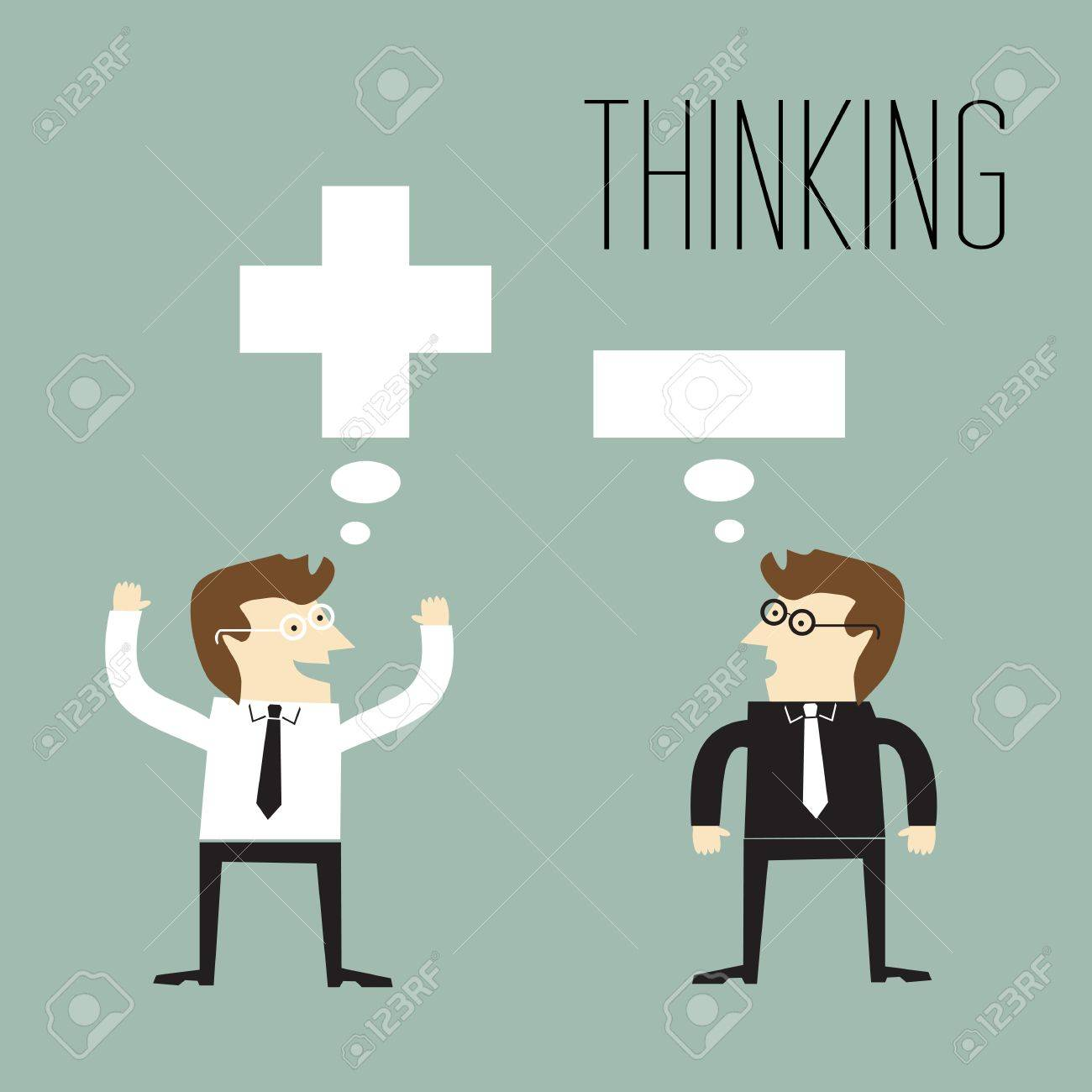 Businessman with positive thinking and Businessman with negative thinking Stock Vector - 20665011