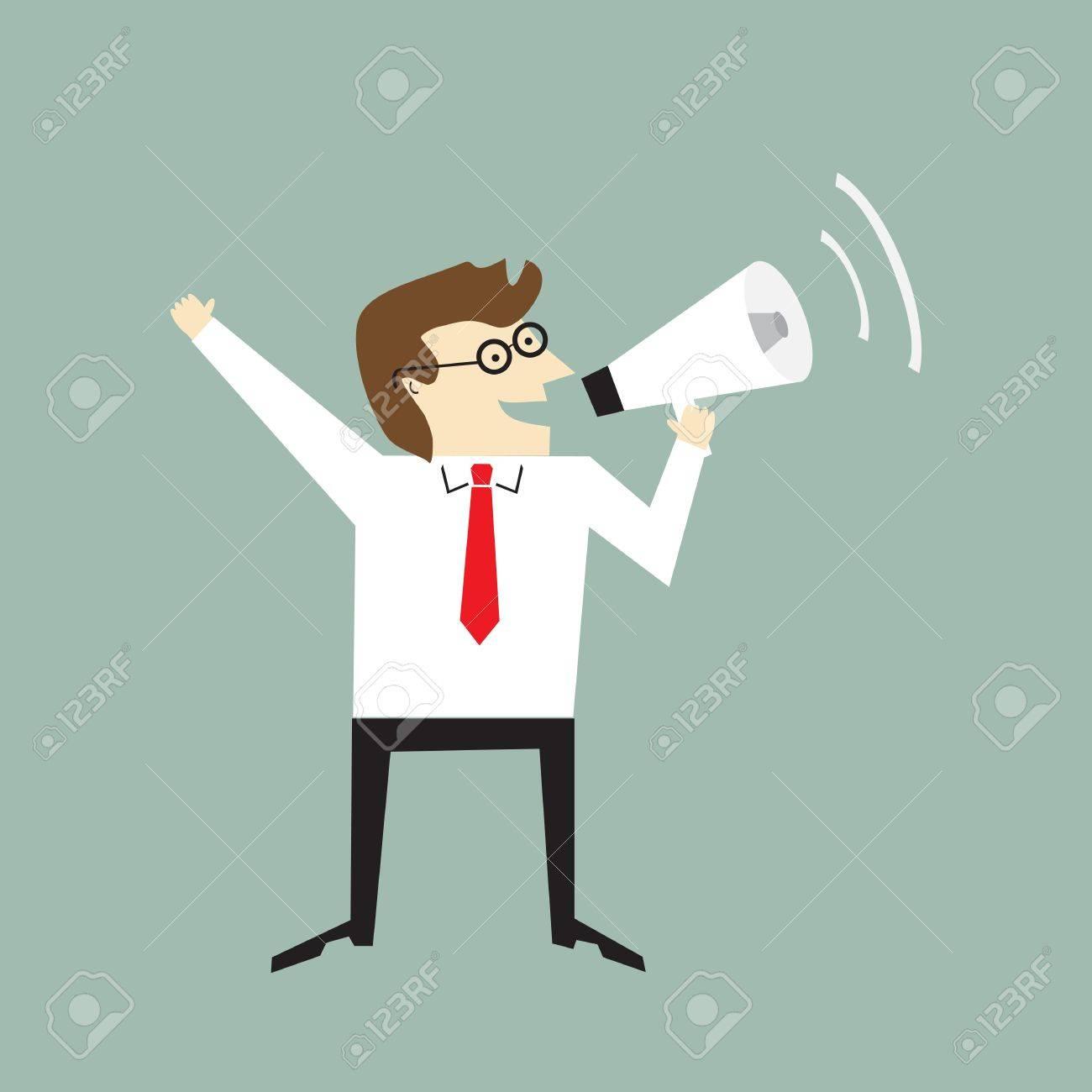 Businessman holding a megaphone Stock Vector - 20665419