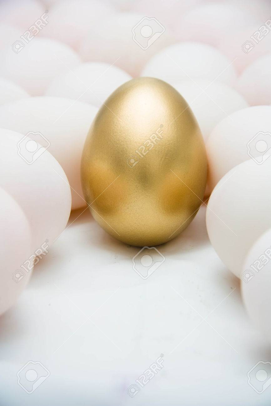 Golden eggs with duck eggs Stock Photo - 25593180