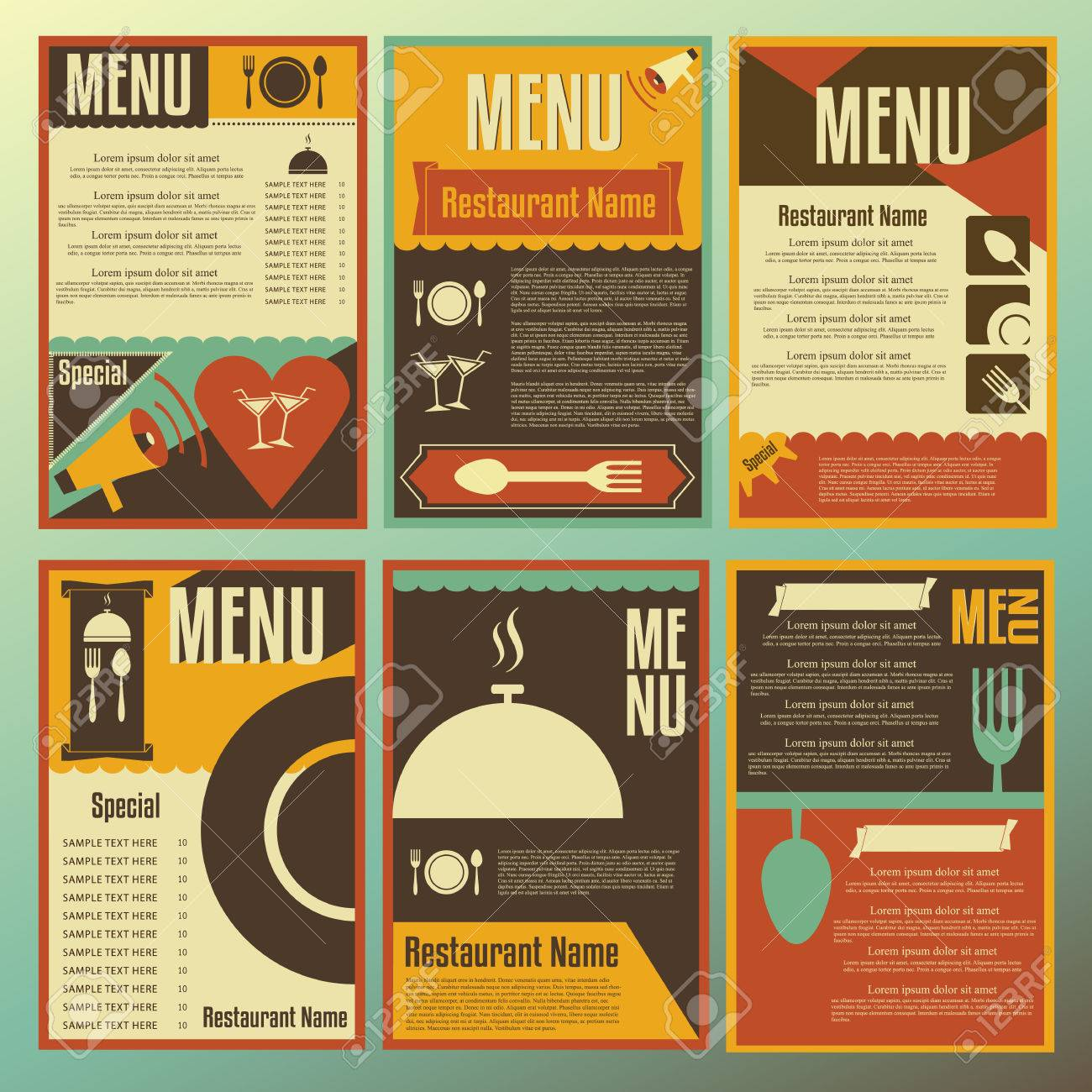 Restaurant Menu Designs Collection Of Retro Style Vector Illustrations Royalty Free Cliparts Vectors And Stock Illustration Image 30480870