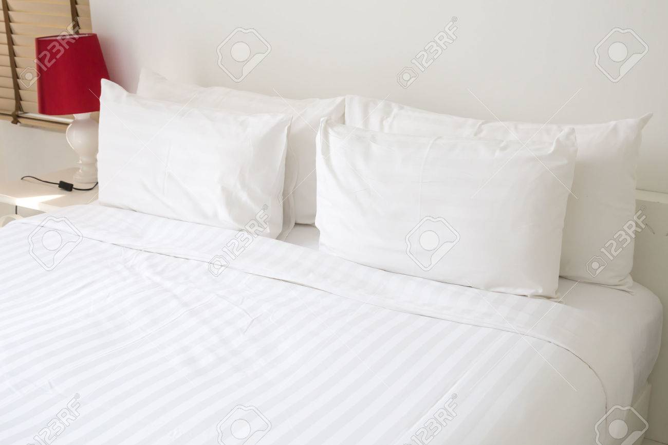 White bed pillows - Stock Photo White Bed Sheets And Pillows