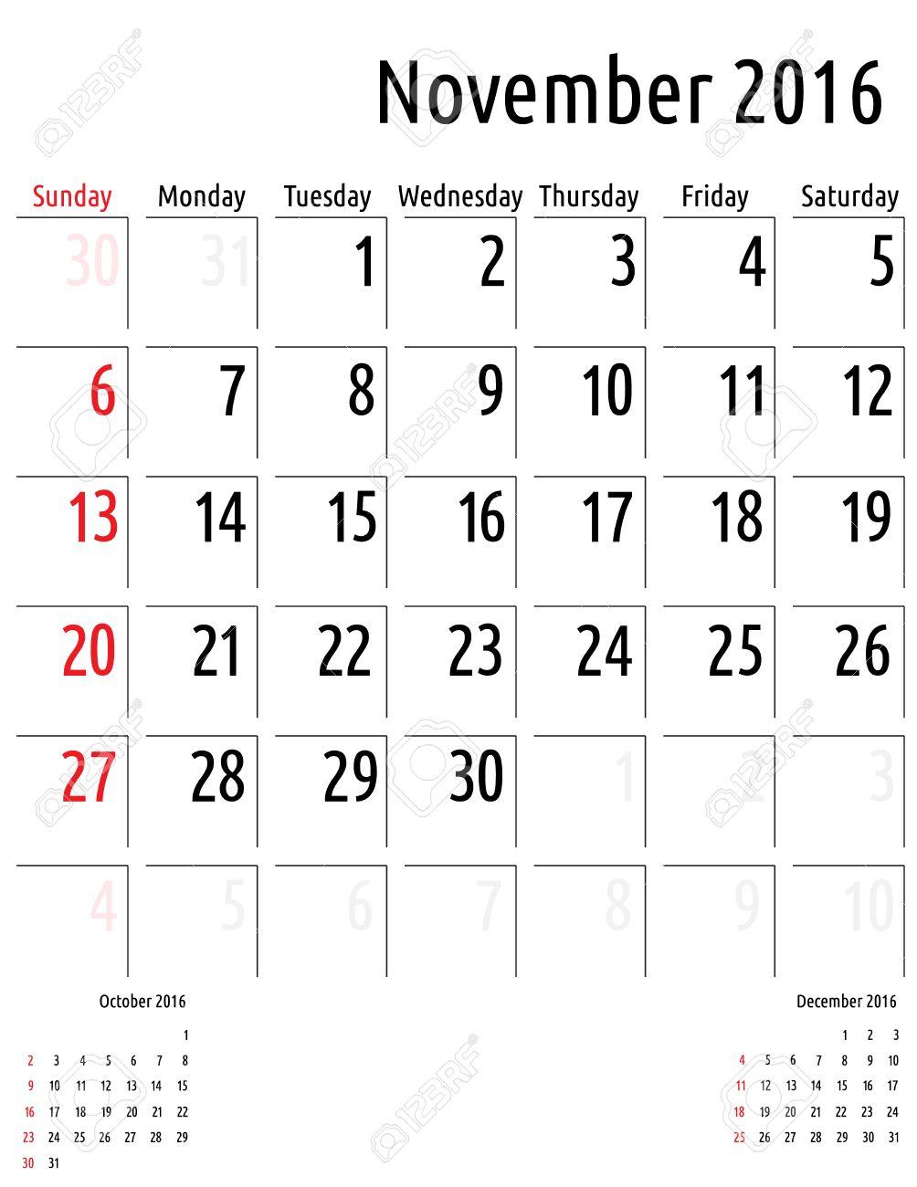 Calendario Noviembre 2016 Vector Plantilla Calendario De ...