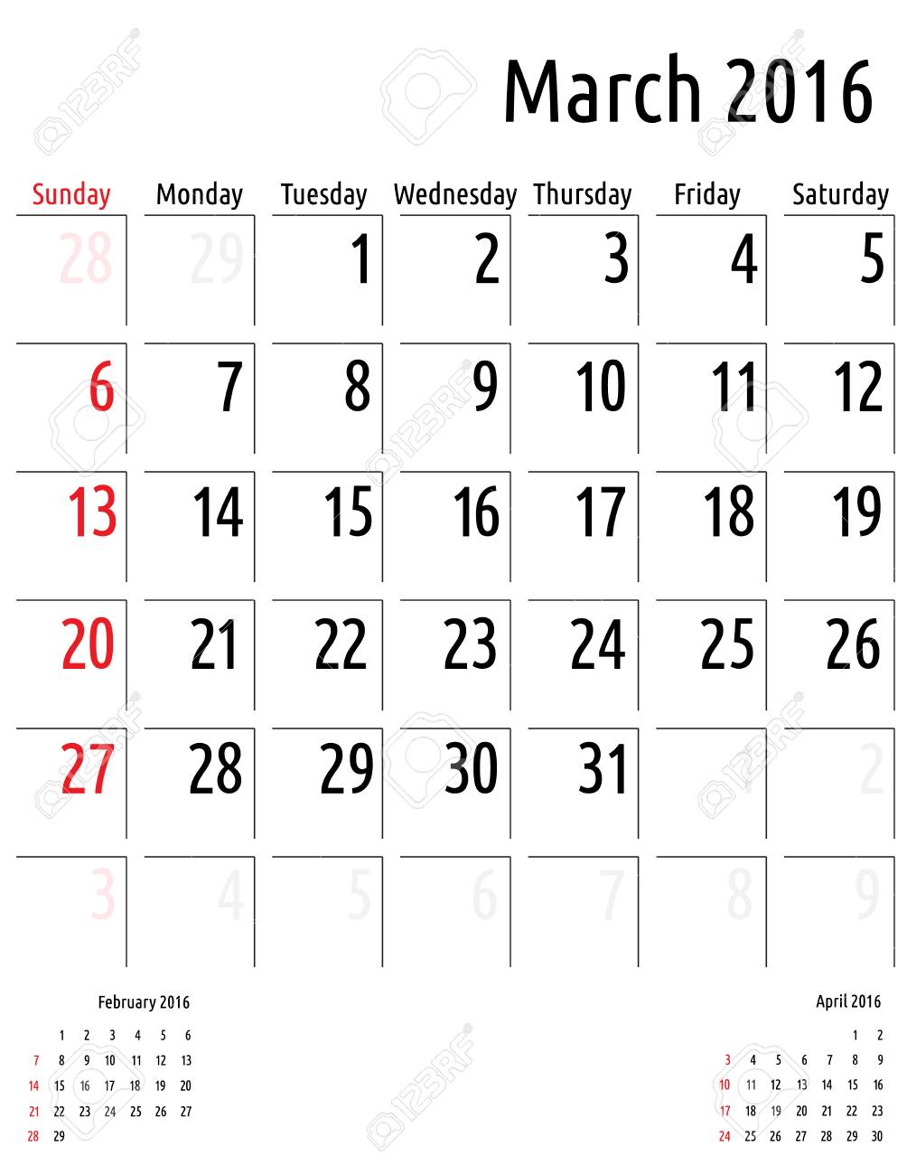 Calendario De Marzo De 2016. Vector Calendario Plantilla De ...