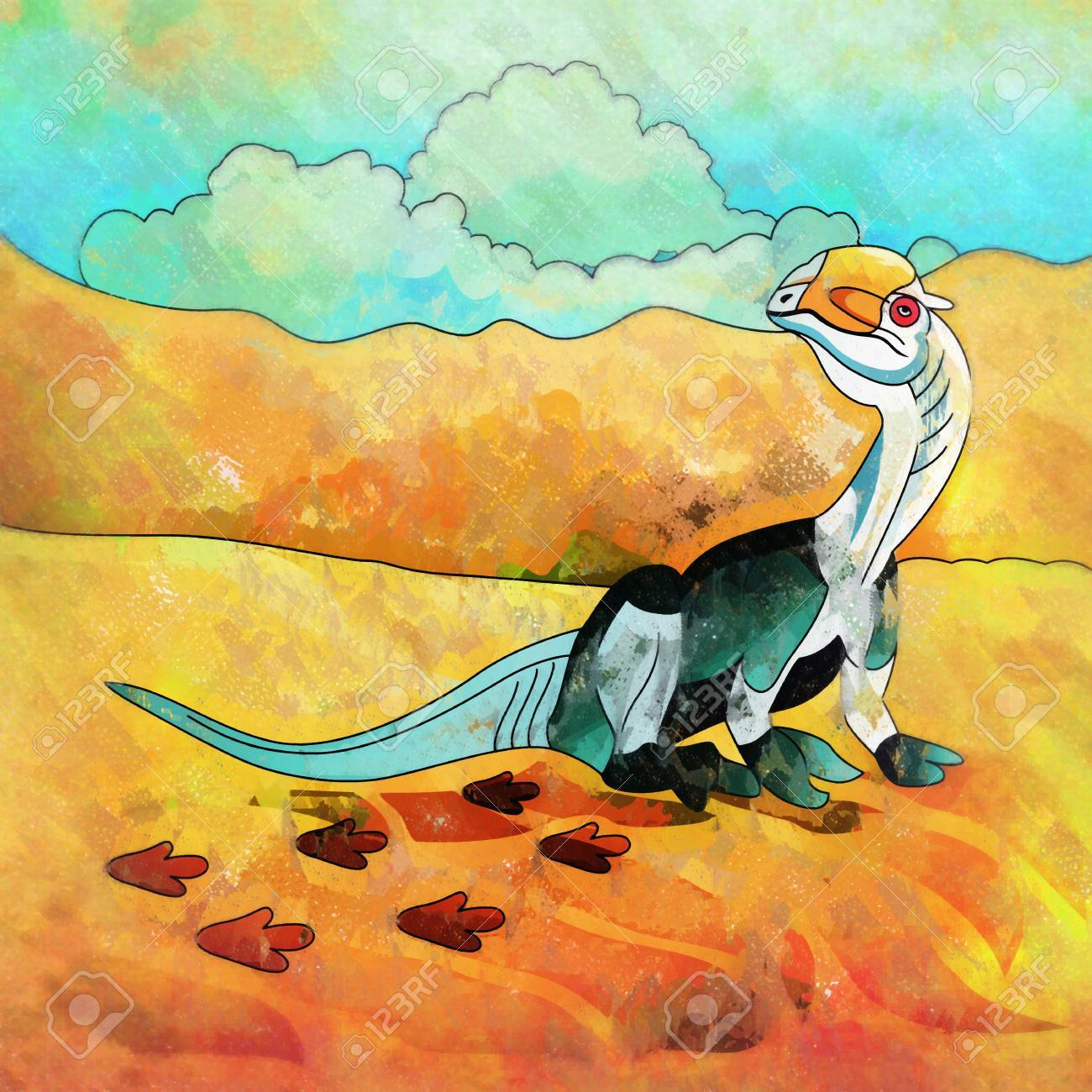 Dilophosaurus Illustration Of A Dinosaur In Its Habitat Stock