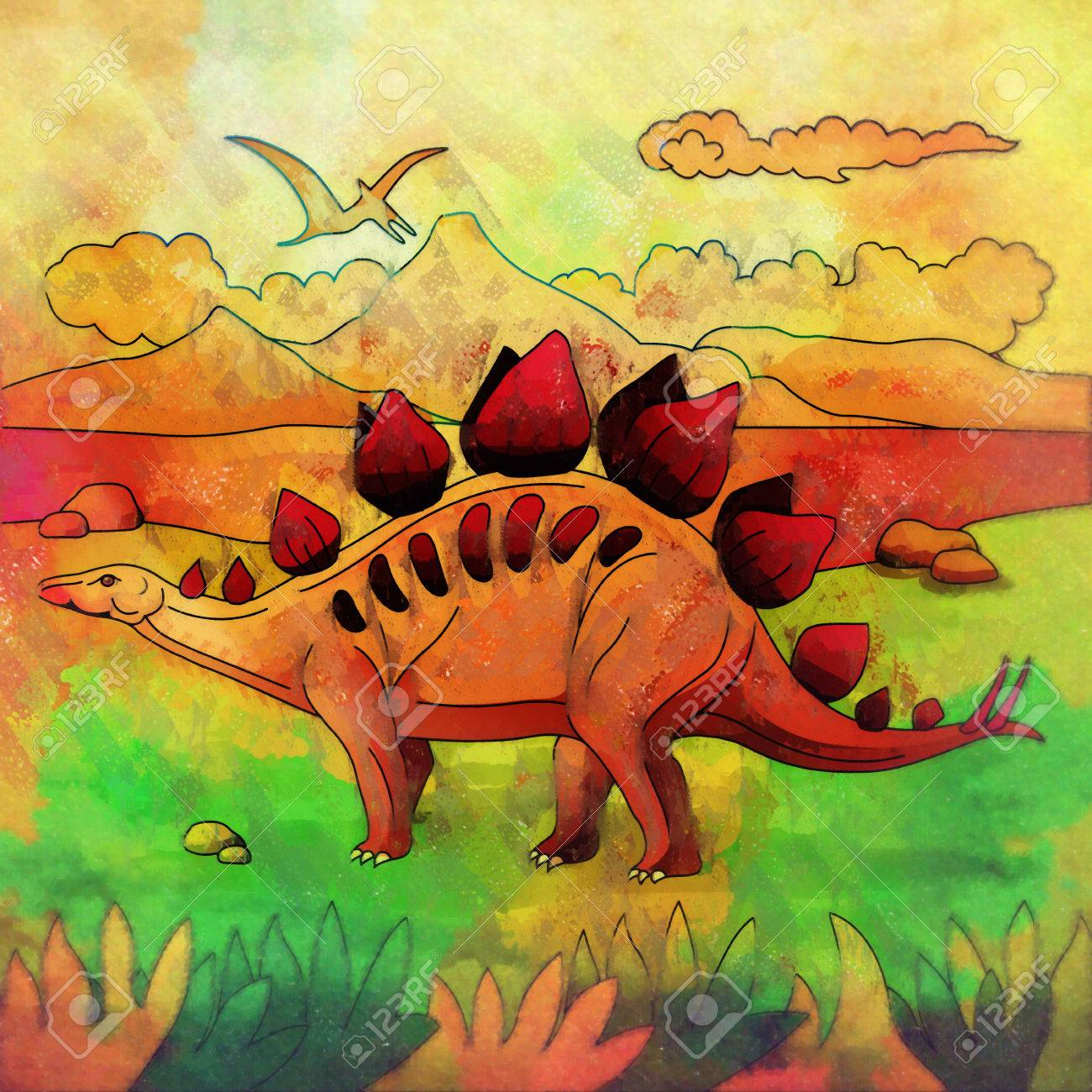 Stegosaurus Illustration Of A Dinosaur In Its Habitat Stock Photo
