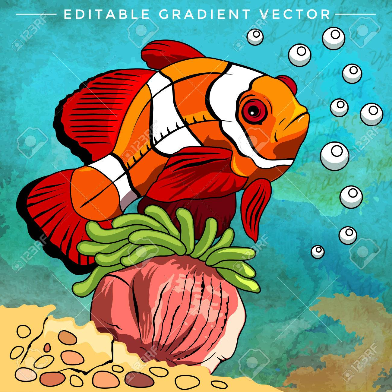 Fish In Aquarium. Bright Colorful Vector Illustration. Royalty Free ...