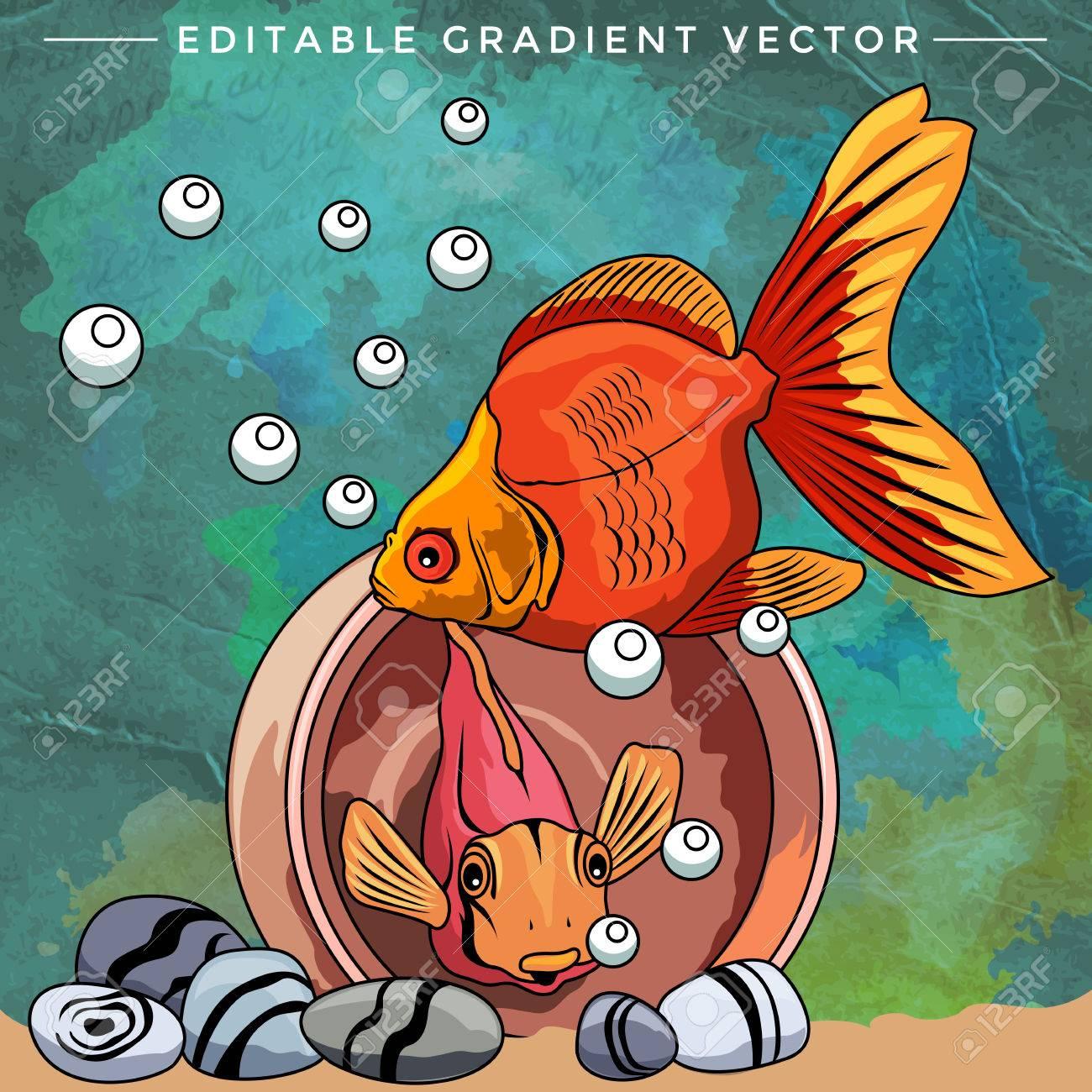 Fishes In Aquarium. Bright Colorful Vector Illustration. Royalty ...
