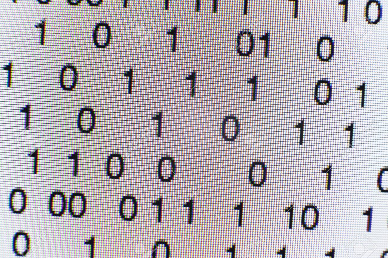 Binary code on a computer screen - 73032655