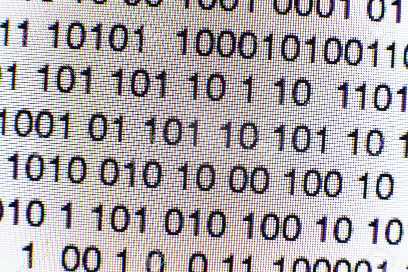 Binary code on a computer screen - 73105753