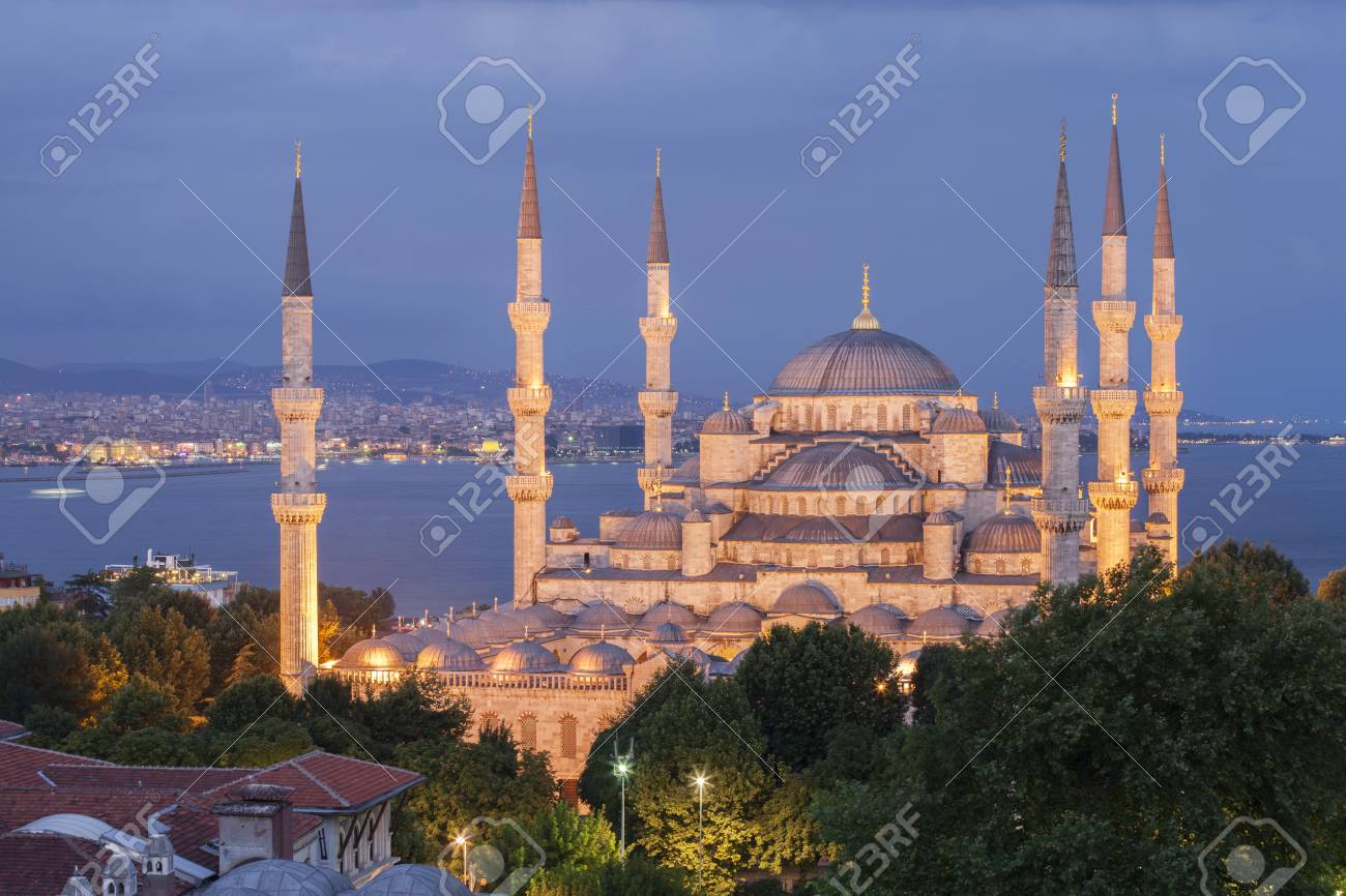 The Blue Mosque at night, Istanbul, Turkey - 73074216