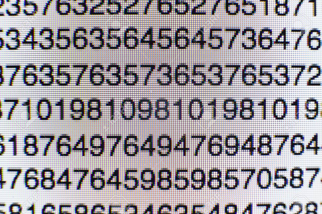 Numbers on a computer screen - 73032657