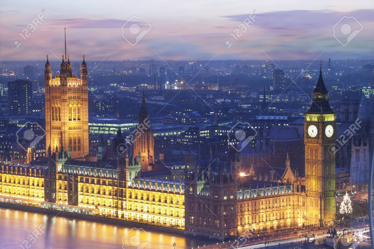 The Houses of Parliament at dusk, London, England - 73074223