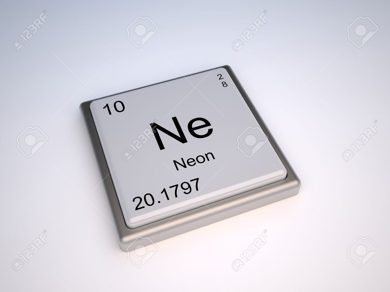 010 Neon Chemical Element Of The Periodic Table With Symbol Ne ...