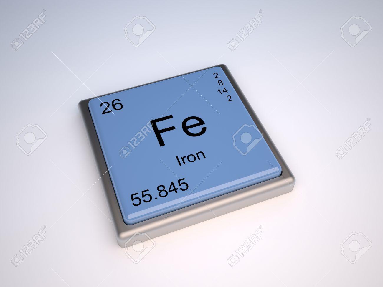 Elemento qumico de hierro de la tabla peridica con el smbolo de elemento qumico de hierro de la tabla peridica con el smbolo de la fe foto de urtaz Images