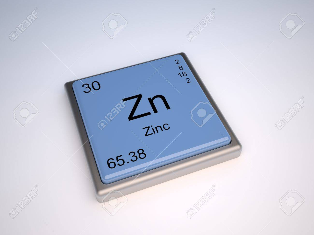 Zinc Chemical Element Of The Periodic Table With Symbol Zn Stock