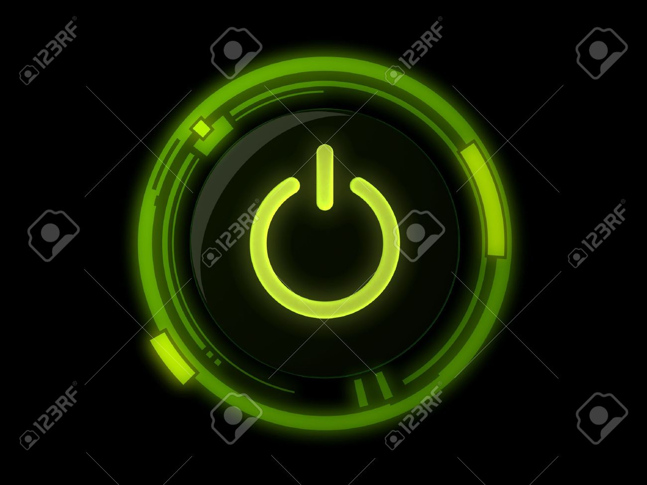 Power button on green light Stock Photo - 10569388