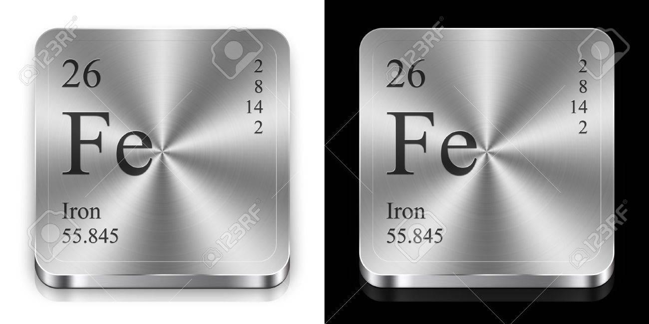 Hierro elemento de la tabla peridica dos botones de la tela de hierro elemento de la tabla peridica dos botones de la tela de metal foto urtaz Images