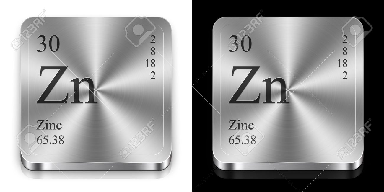 Zinc - Element Of The Periodic Table, Two Metal Web Buttons Stock ...