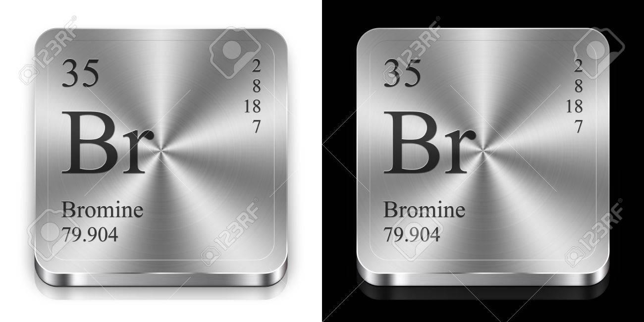 Bromo elemento de la tabla peridica dos botones de la tela de bromo elemento de la tabla peridica dos botones de la tela de metal foto urtaz Images