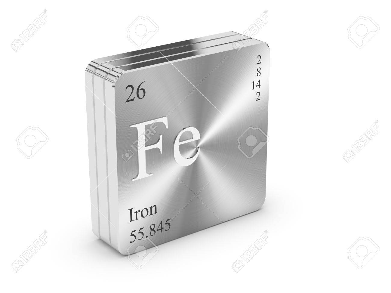 Hierro elemento de la tabla peridica en bloque de metal de hierro elemento de la tabla peridica en bloque de metal de acero foto de archivo urtaz Images