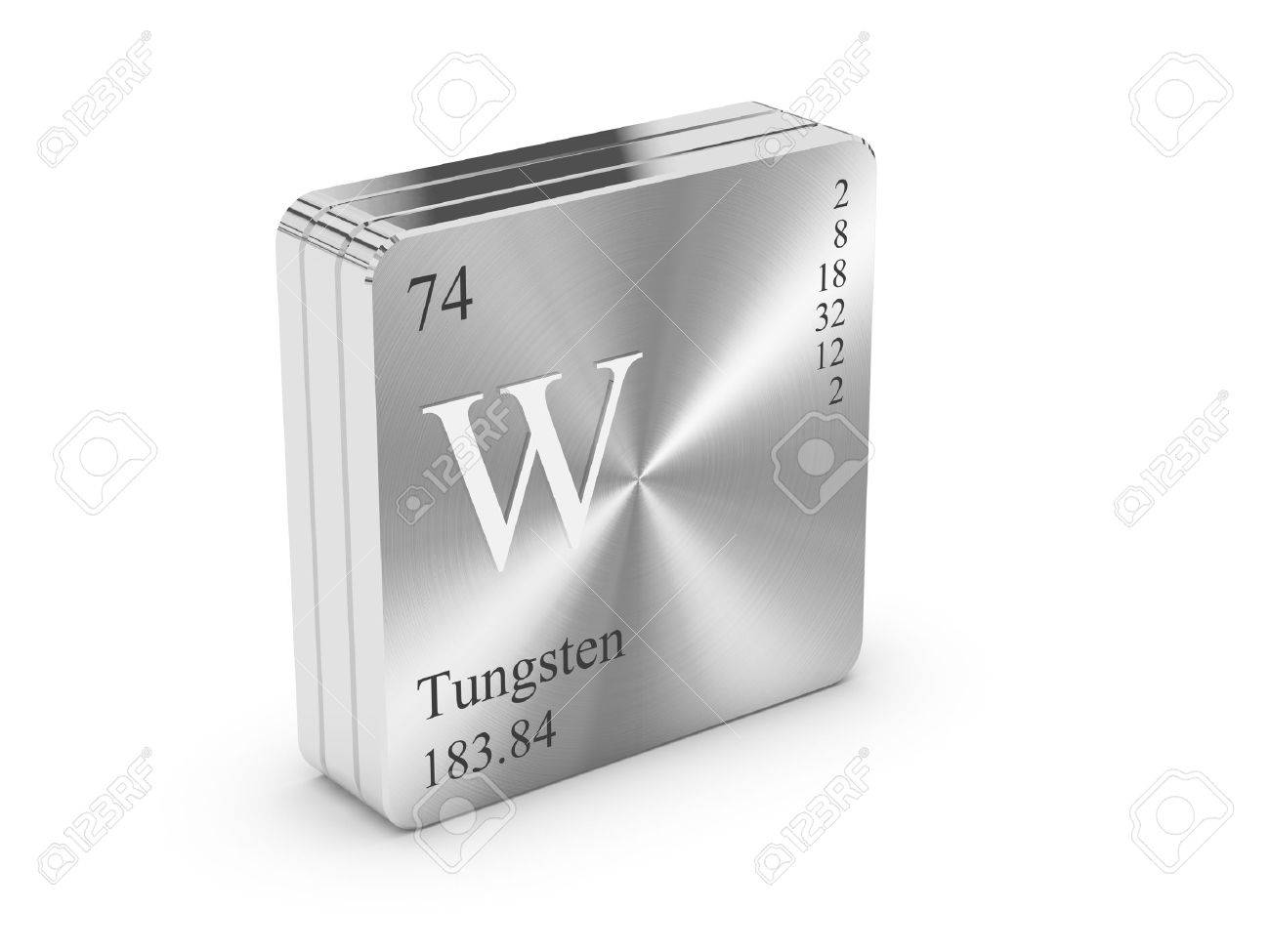Tungsten Element Of The Periodic Table On Metal Steel Block Stock