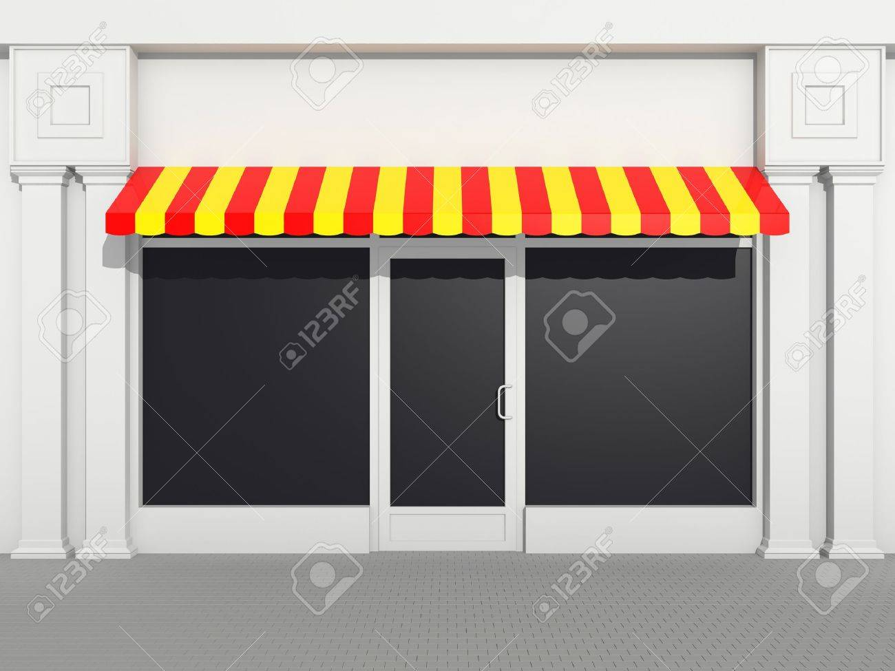 Shopfront - classic store front with colored awnings Stock Photo - 13358234