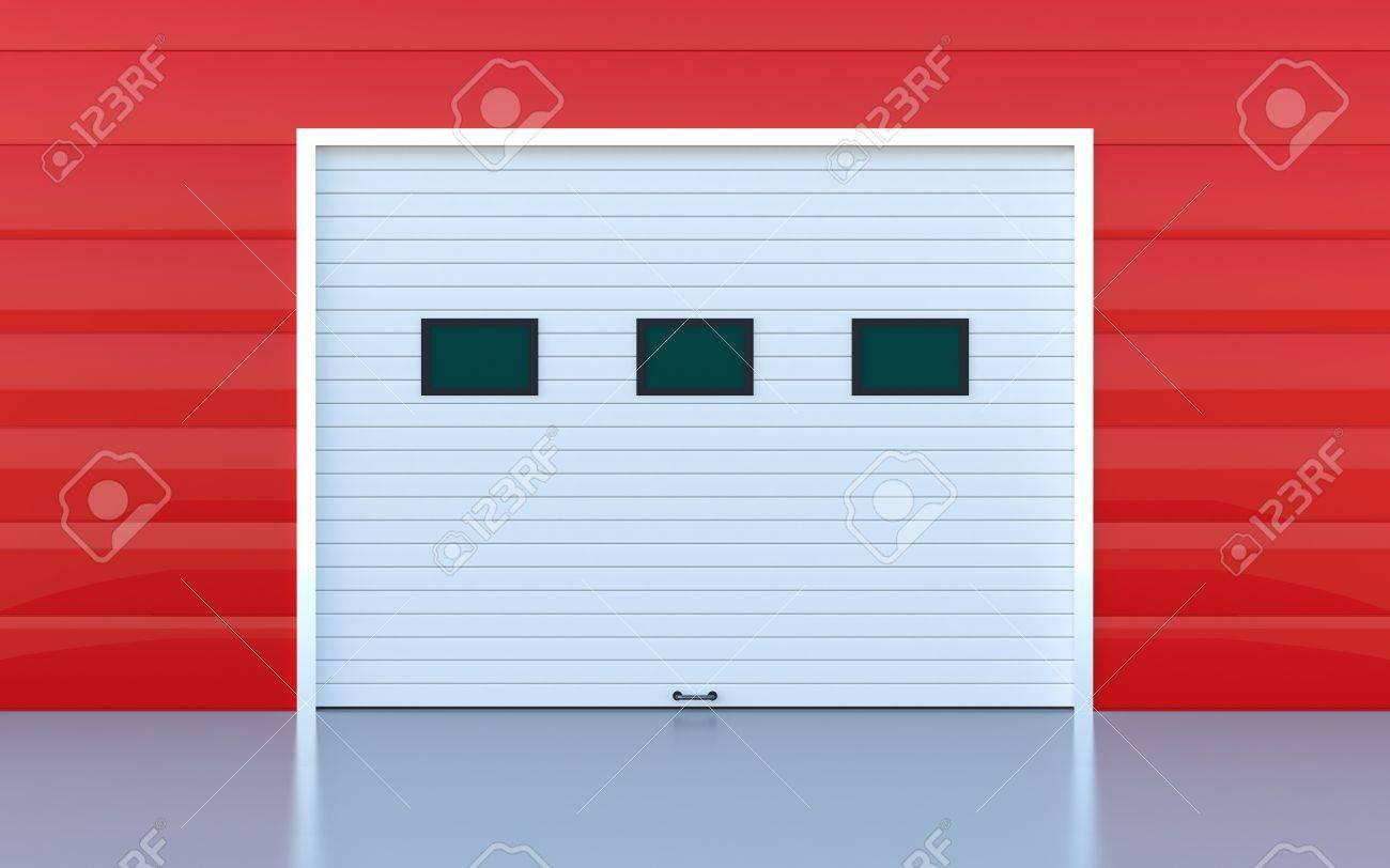 Industrial door or garage door red wall panels Stock Photo - 14600391
