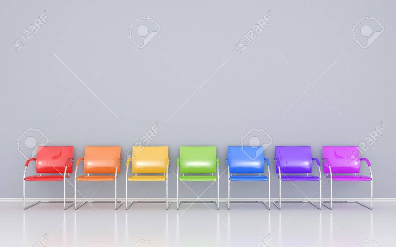 Superb Colored Chairs In The Waiting Room Stock Photo   14618096
