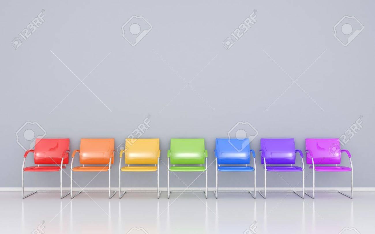 Farbige Stühle Im Wartezimmer Lizenzfreie Fotos Bilder Und Stock