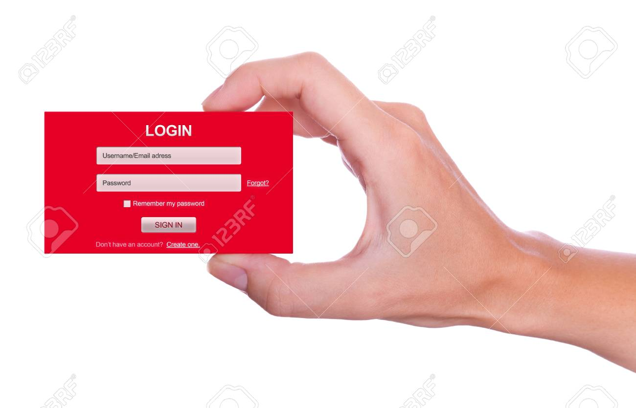 Login user name and password form handheld Stock Photo - 14661784
