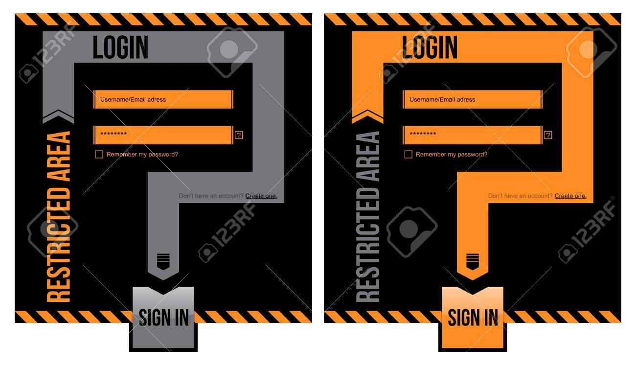 Restricted area. Login form. User and password required. Stock Vector - 14856995