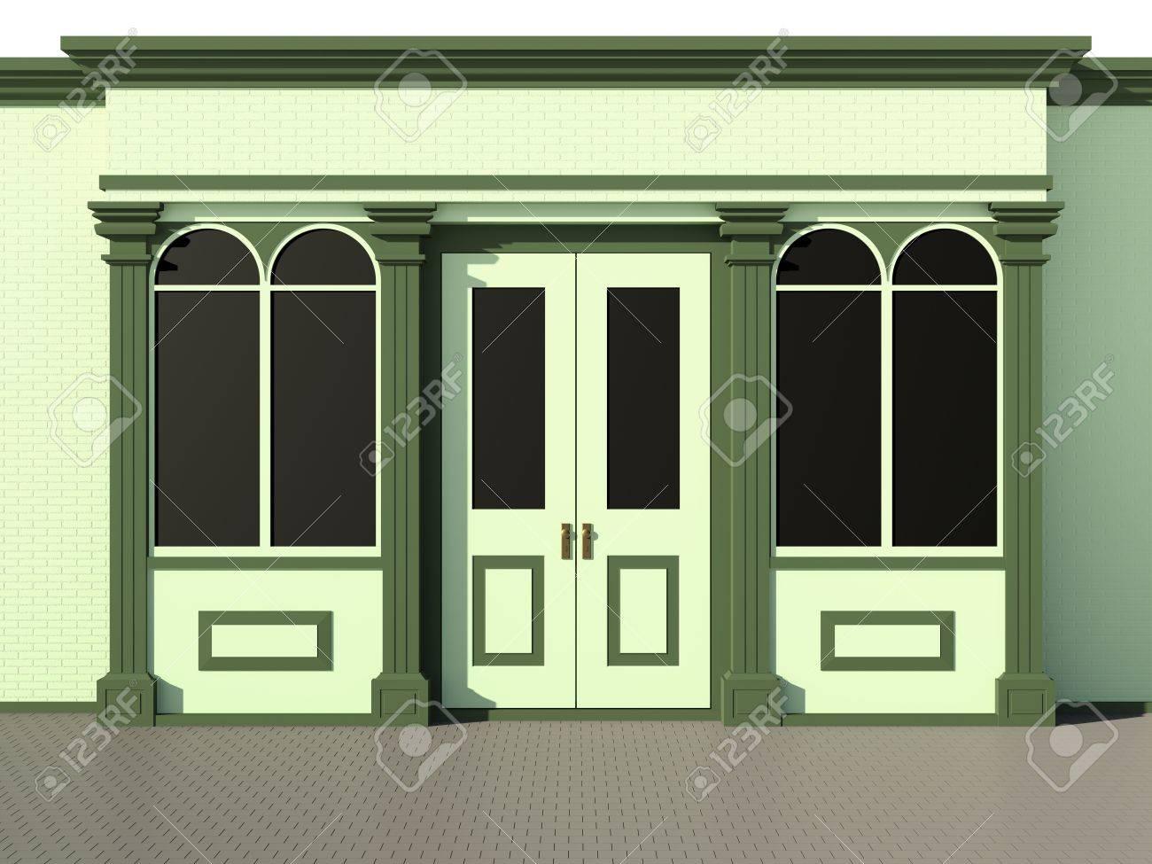 Green shop - classic store facade on green Stock Photo - 14966575