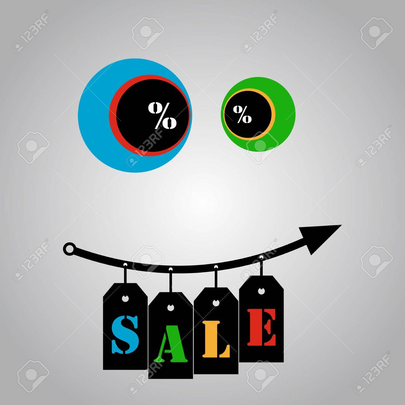 Happy growth sales - hanging ribbons Stock Vector - 16399308
