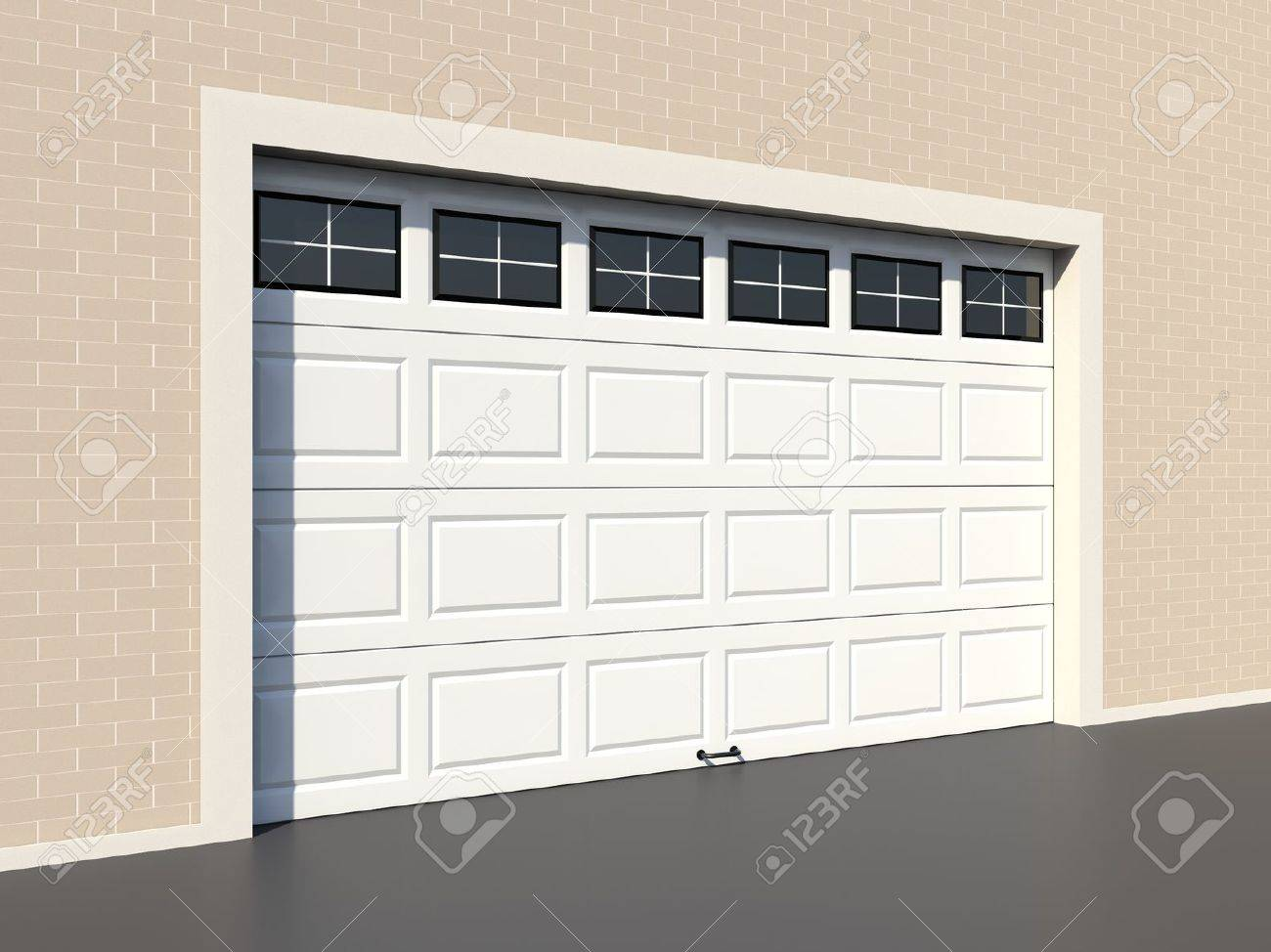 White Modern Garage Door With Windows Stock Photo Picture And