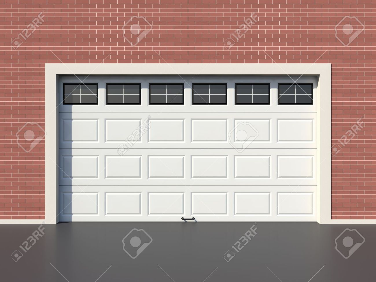 Modern White Garage Door modern white garage door with windows stock photo, picture and