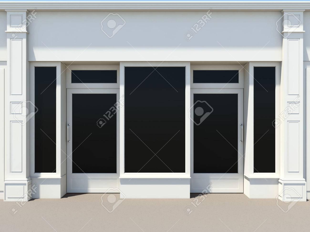 8ab06f99757 Foto de archivo - Persiana metálica con dos puertas y ventanales. Blanco fachada  tienda.