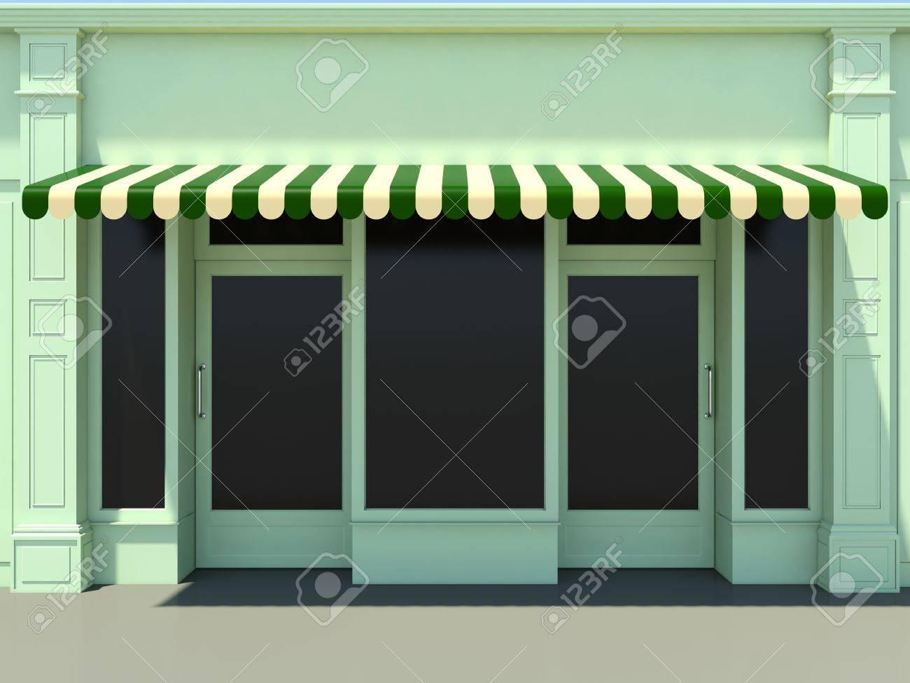 Green Modern Shopfront In The Sun
