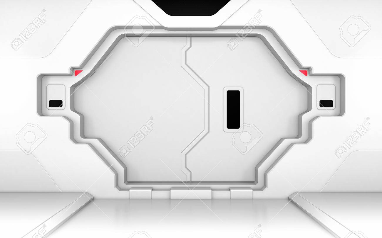 Futuristic metallic white door gate or entrance in spaceship interior or secret laboratory Stock Photo  sc 1 st  123RF.com & Futuristic Metallic White Door Gate Or Entrance In Spaceship ...
