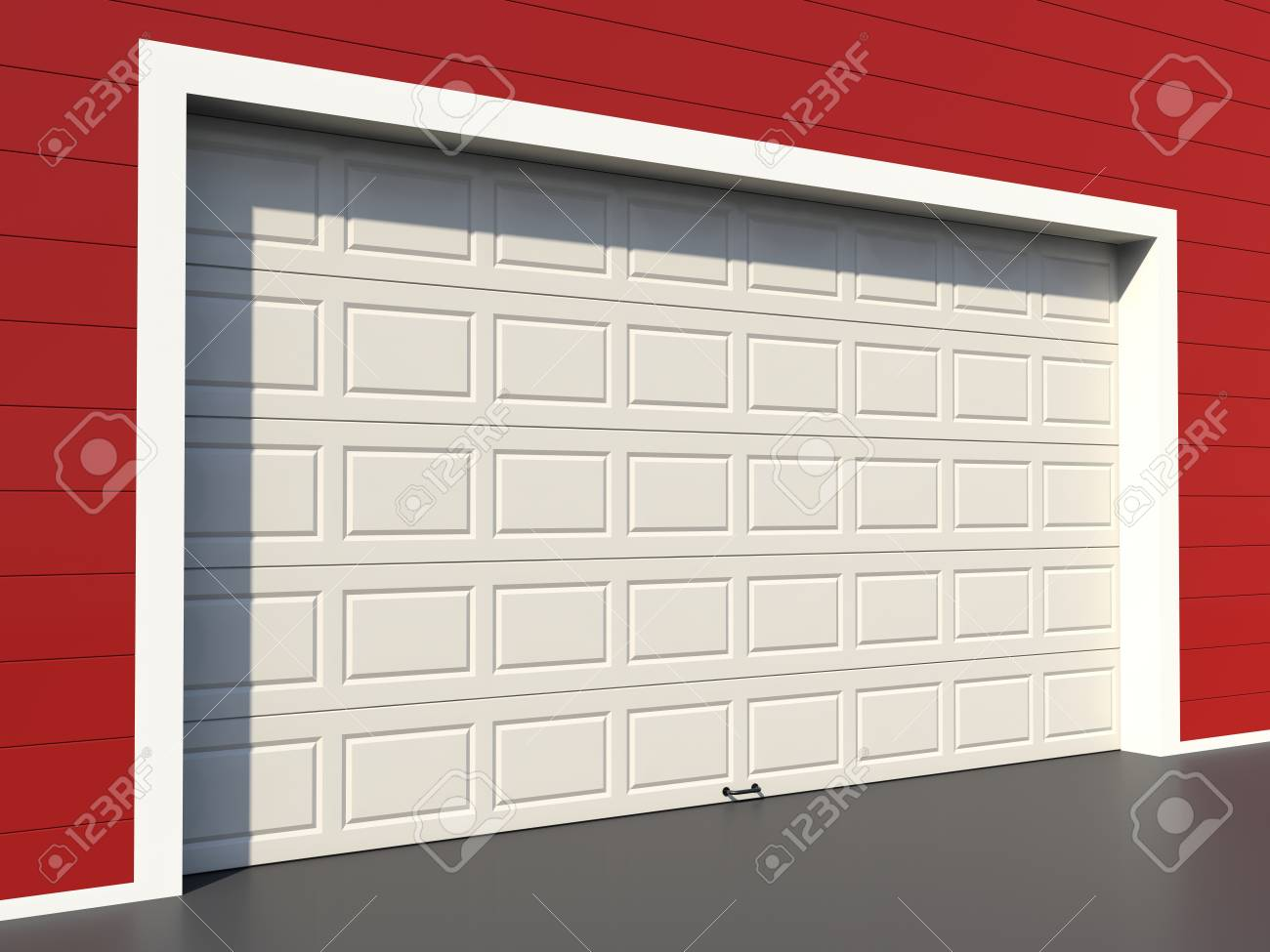 Modern White Garage Door On Red Wall Stock Photo Picture And