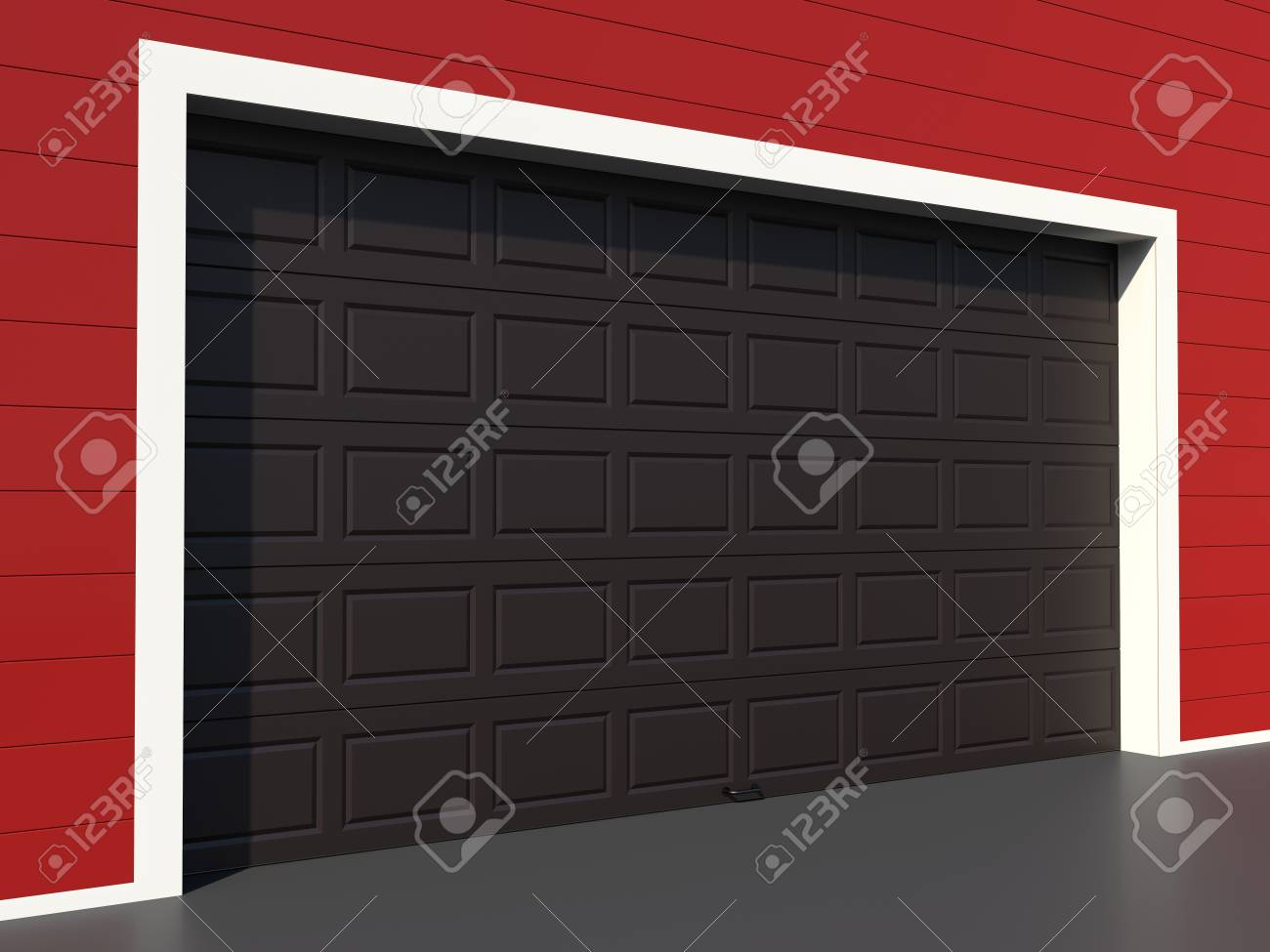 Modern Black Garage Door On Red Wall Stock Photo Picture And