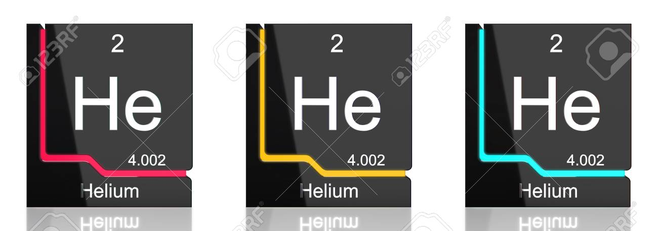 Helium Element Symbol From The Periodic Table In Three Colors Stock