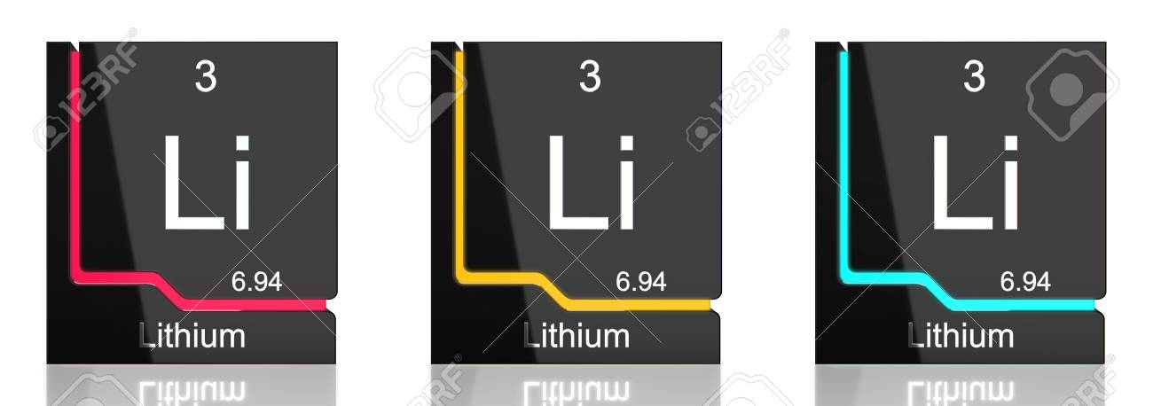 lithium element symbol from the periodic table in three colors banque dimages 82735651 - Periodic Table Symbol For Lithium