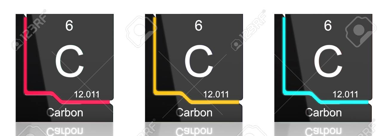 Carbon Element Symbol From The Periodic Table In Three Colors Stock