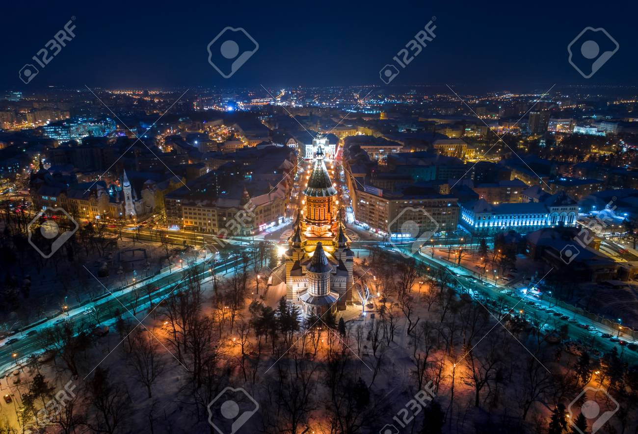 Winter Night Aerial View From Timisoara Taken By A Professional