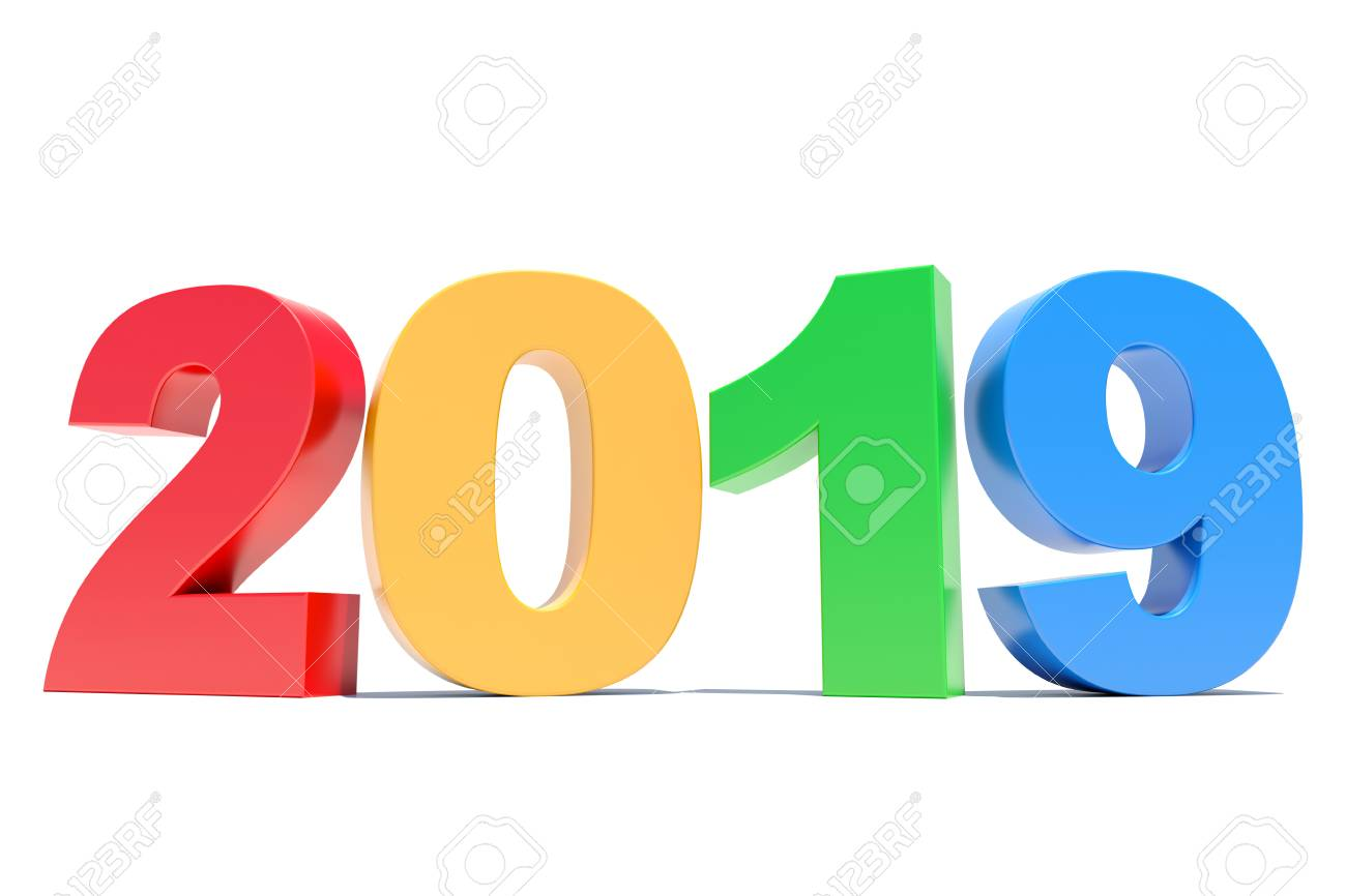 happy new year 2019 colorful calendar background stock photo 97954805