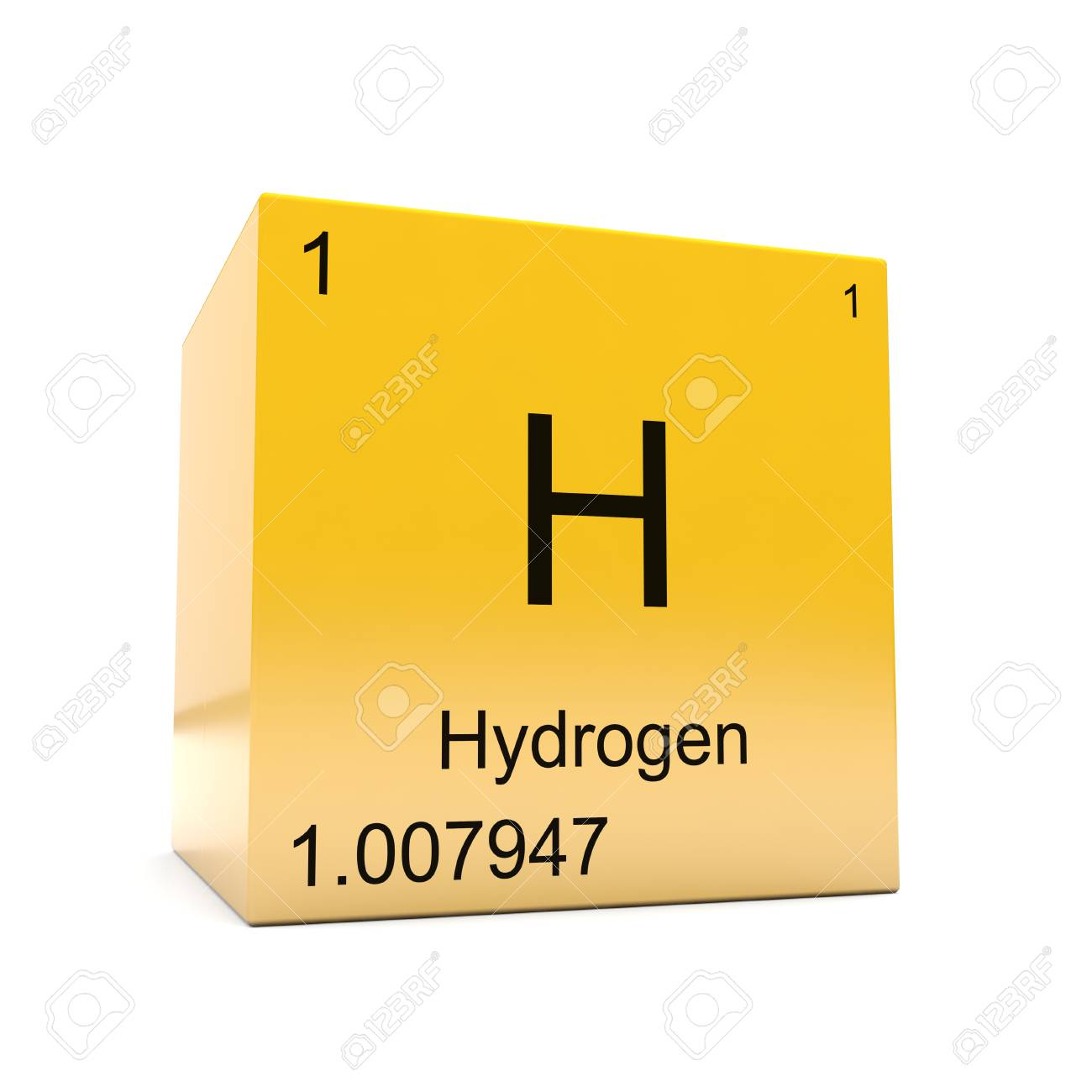 Hydrogen chemical element symbol from the periodic table displayed hydrogen chemical element symbol from the periodic table displayed on glossy yellow cube stock photo urtaz Choice Image
