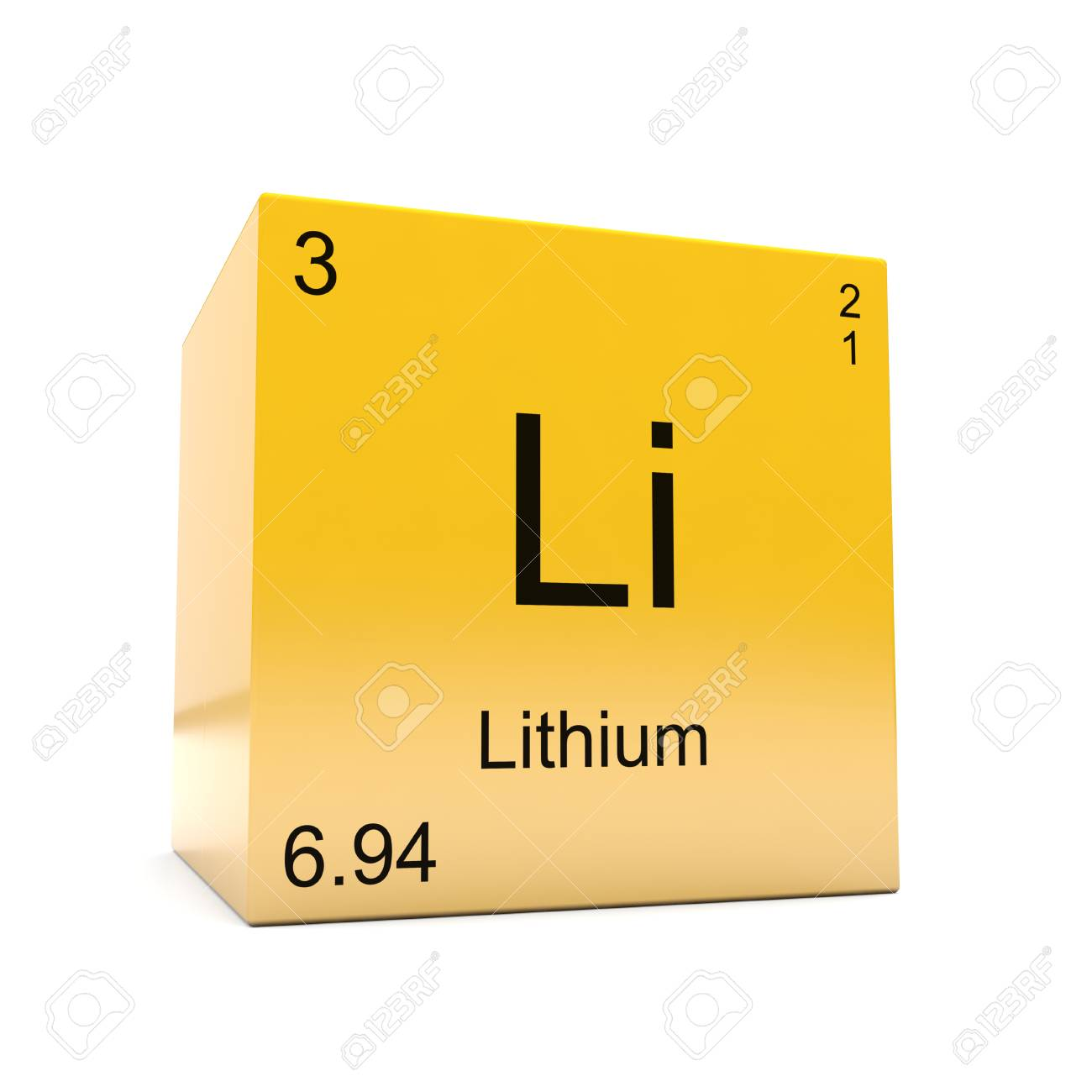 Lithium chemical element symbol from the periodic table displayed lithium chemical element symbol from the periodic table displayed on glossy yellow cube stock photo urtaz Choice Image