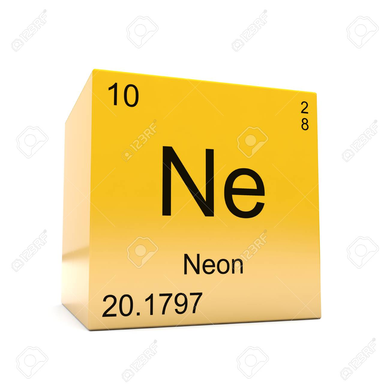 Neon Chemical Element Symbol From The Periodic Table Displayed On Glossy  Yellow Cube Stock Photo