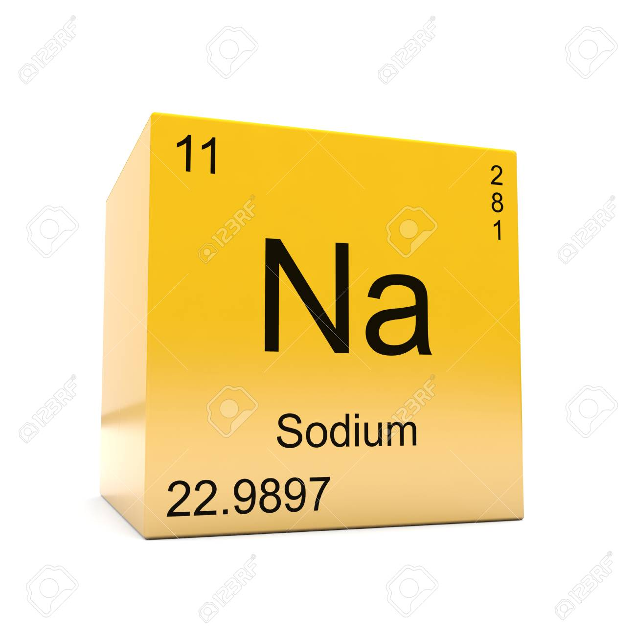 Sodium chemical element symbol from the periodic table displayed sodium chemical element symbol from the periodic table displayed on glossy yellow cube stock photo urtaz Image collections